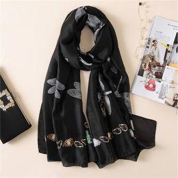 Dragonfly scarves online shopping - 2019 New Silk Scarf Women Classic Dragonfly Printing Foulard Female Fashion Shawls Wraps Beach Towel Soft Long Scarves Kerchief cm