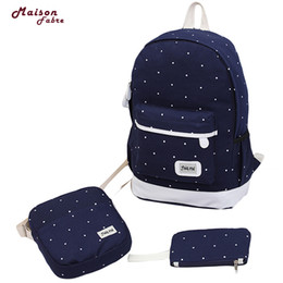 $enCountryForm.capitalKeyWord Australia - Canvas Backpack Women Dot School Bag For Teenagers Girls Preppy Style Composite Bags Set Travel High Quality Female Backpack #30 Y19061102