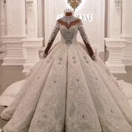 Wholesale t shirt sparkling for sale – custom Vintage Ball Gown Wedding Dresses High Neck Luxury Train Long Sleeves Sparkle Applique Satin Bridal Gowns