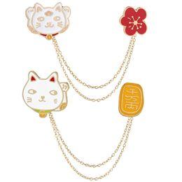 $enCountryForm.capitalKeyWord Australia - Cute Cartoon Cat Animal Brooch Tassel Chain Clip Collar Shirt Coat Badges Pins Girls Boys Cloth Accessories