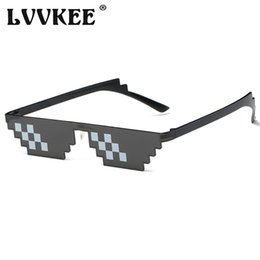 Chinese  Hot Sell Classic Thug life Deal With It Sunglasses Rectangle Men 8 bits Mosaic Pixel Sun Glasses For Women Lunette De Soleil manufacturers