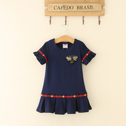 Lolita Flared Dress Australia - Designer kids dress girls sequins bees embroidery dress children stripe flare short sleeve falbala dress 2019 new girl summer dresses F4776