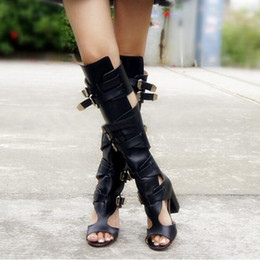 Shoes Knee High Straps Australia - New Arrival Spring Summer Women Knee High Sandals Motorcycle Boots Buckle Rome Women Shoes Free Shipping Cutouts Sandals Boots