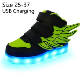 Sneakers Children Australia - Kriativ Kids Light Up Shoes With Wing Led Slippers Led Shoes Infant For Children Boy&girl Luminous Sneakers Glowing Y19061906