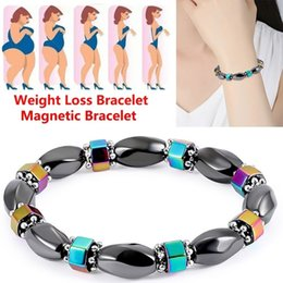 Fashion Magnetic Therapy Bracelet Australia - Fashion 1pc Weight Loss Round Black Stone Bracelet Health Care Magnetic Therapy Bracelet Bangle Unisex Gifts