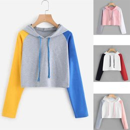 Hoodies Sweat Shirts Australia - Women Casual Crop Top Hooded Hoodies Sweatshirt Autumn Colorful Patchwork Long Sleeve Checkerboard Pullover Sweat Shirts