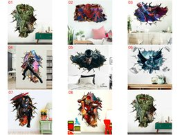Wholesale 8 stili 60 * 90cm adesivi poster da parete New Avengers Hulk Beauty Team Batman Cartoon Wall Sticker per bambini Camera da letto Home Decor Decoration