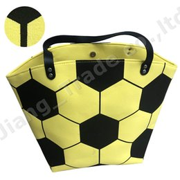 Unisex Suits Australia - Large Capacity Sports Tote White Yellow Football Bags Soccer Handbag Unisex Men Women Kids Cotton Canvas Duffle Shoulder Bags A52004