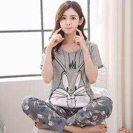 $enCountryForm.capitalKeyWord Australia - Womens Pajamas Sets 100% Cotton Short-Sleeve Shirts And Pants Animal Print 2019 Pajama Set Sleepwear Women Sexy Summer Homewear Y190601