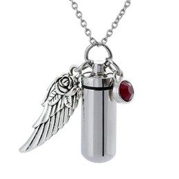 b85e45d12 Angels Crystals UK - Angel Wing Memorial Urn Necklace cylinder Cremation  Keepsake Pendant Birthstone crystal Stainless