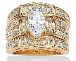 14kt ring yellow Australia - AprilGrass Vecalon Classic Jewelry Marquise Cut 2ct 5A Zircon Cz Wedding Band Ring Set for Women 14KT Yellow Gold Filled Enagement Ring
