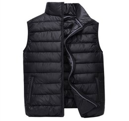 padding coats UK - 2019 Men's Winter Down Cotton Padded Vest Warm Thick Sleeveless Coat S-4XL