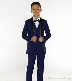 $enCountryForm.capitalKeyWord Australia - New Navy Blue Boy's Formal Occasion Tuxedos Little Men Suits 2018 Cheap Kids Wedding Party Tuxedos Boy's Formal Suit (Jacket+Tie+p