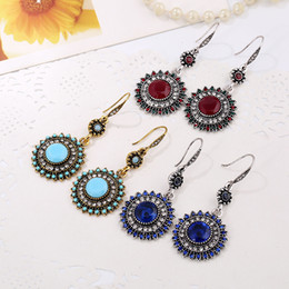 $enCountryForm.capitalKeyWord Australia - Bohemia Fashion Jewelry Vintage Long Drop Earrings Antique Silver Sunflower Dangle Hook Earrings For Women 6 Colors For Choose G127LR