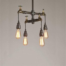 $enCountryForm.capitalKeyWord Australia - Loft Vintage Pendant Lights Water Pipe Chandeliers Edison Retro Steampunk Metal Interior Lighting for Restaurant Coffee Room Bar