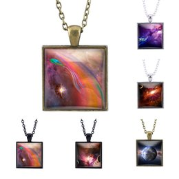 Glasses Trade Australia - 2019 New Fashion Creative Pendant Necklace Vintage Foreign Trade Jewelry Starry Square Ancient Bronze Time Gemstone Necklace Crystal Glass J
