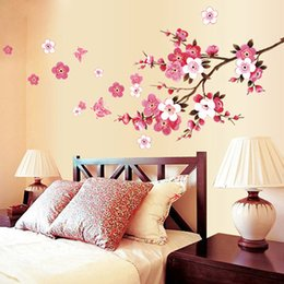 $enCountryForm.capitalKeyWord NZ - Creative PVC Wall Sticker Blossom Flower Butterfly Decal for Living Room Bedroom TV Wallpaper Large Removable DIY Art Home Decor