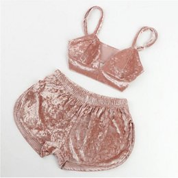 $enCountryForm.capitalKeyWord Australia - Sexy Lingerie Pajama Sets Women Velvet Outfits Babydoll Nightgown Sleepwear Crop Tops Pants Casual Clothes Set