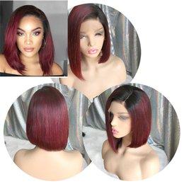 $enCountryForm.capitalKeyWord Australia - dark roots ombre 1b 99j bob Lace Wigs Brazilian Virgin Human Hair side part Silky Straight bob Lace Front Wigs for Black Woman