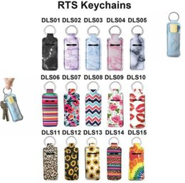 lipstick keyring Canada - Neoprene Chapstick Holder Lipstick Cases Cover Portable Lipstick Holders Marble Style Keychain RTS Keyrings Party Favor OOA8070