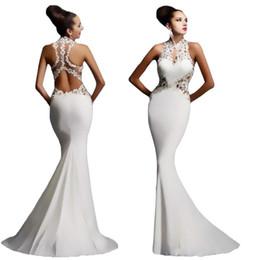 1c3bc3321 Encaje sexy ahueca hacia fuera halter maxi dress mujeres elegante fiesta de  noche sin espalda vestidos largos de sirena 2019 vestido de fiesta de bodas  de ...