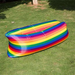 Discount beds direct - Inflatable Bed Indoor Foldable Camp Portable Air Cushion Waterproof Outdoors Rainbow Color Lazy People Sofa Factory Dire