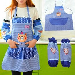Cotton Set Aprons Australia - Newly Apron Over Arm Sleeves Set Women Kitchen Cooking Bib Aprons with Pockets