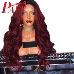 red lace front wig human hair Canada - PAFF Ombre Wine Red 360 Lace Frontal Human Hair Wigs with Baby Hair Brazilian Remy Hair 1b 99j Lace Front Wig