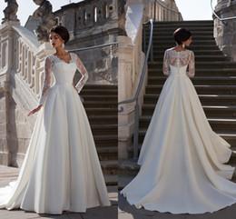 $enCountryForm.capitalKeyWord Australia - Noble A Line Satin Wedding Dresses V Neck Sheer Long Sleeves Button Back Bridal Gown Court Train Ribbon Sash Plus Size Vestidos AL2603