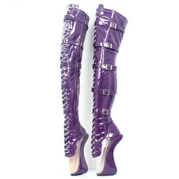 a80252c4cceb 18Cm High Hoof Heel Lace-up Sexy Transparent Pointed Toe Over-the-Knee  Thigh High Ballet Boot for Sexy Fetish Heelless Boots Unisex Shoes