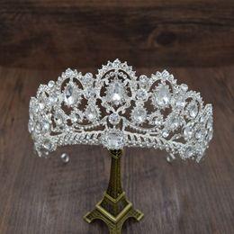 Discount european wedding hair accessories - crystal tiara European Caroque big Crown Crystal tiara wedding queen crowns bride rhinestone tiaras hair accessories for
