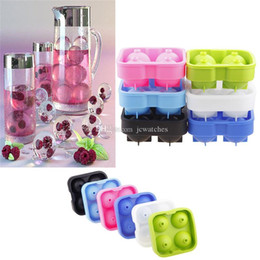 Ice Cubes Balls Australia - Silicone 4 Hole Ice Cube Ball Drinking Wine Tray Brick Round Maker Mold Sphere Mould Bar Ice Hockey Maker for Party Bar