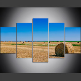 Russian Paintings Australia - 5 Piece Large Size Canvas Wall Art Pictures Creative Russian Wheat Fields Scenery Small Town Poster Art Print Oil Painting for Living Room