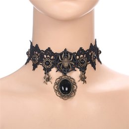 Discount gothic victorian chokers - Black Lace Necklace Halloween Collar Choker Victorian Necklace Vintage Gothic Chain Pendant Collares De Moda 30AUG01