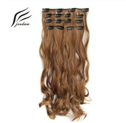 "synthetic wavy hair black NZ - Wavy Hair 24"" 60cm 100g Clip In Hair Extensions 7Pcs set Synthetic Natural Black Gray Color Hairpieces"