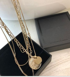Chain Netting Australia - European and American fashion retro net red and gold coin portrait multi-layer ins Necklace woman cold wind clavicle neck chain
