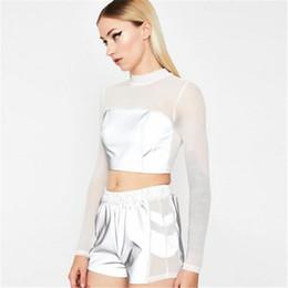 Reflective T Shirts Australia - Sexy Transparent Thin Mesh Top T shirt Women Crop Top Long Sleeve Tshirt Patchwork Reflective Tops Women Short Tee Shirt Femme Harajuku tee