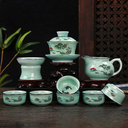 $enCountryForm.capitalKeyWord Australia - Tea set Porcelain kung fu tea set celadon business gift porcelain flower rare and precious Celadon green blue