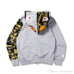 cb0d9a9cf785 Bape Shark Hoodie Australia - Fashion mens shark hoodies Embroidery Shark  MA1 Flight Male Tide Shark