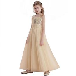 Abiti lunghi ragazza di fiore oro senza maniche alla caviglia lunghezza  paillettes Tulle gioiello collo bambini abiti da ballo di promenade formale  junior ... 0d6099968f6