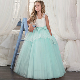 Dresses for 14 year girls online shopping - Designer baby Bridesmaid Pageant Gown Dress Girl Kids Dresses For Girls Teenager Years Wedding Party Dress Lace Clothes