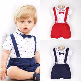 $enCountryForm.capitalKeyWord Australia - 2017 Little Gentleman Costume Newborn Baby Boy Cloth Infant Gentleman Outfits T-shirt Romper Tops + Suspender Shorts Set