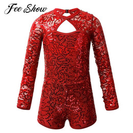 leotard sequins NZ - Kids Girls Long Sleeve Keyhole Back Ballet Dance Costume Shiny Sequins Lace Gymnastics Leotard Jumpsuit Biketard Stage Dancewear