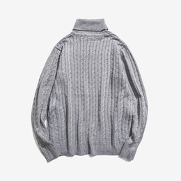 2019 Autumn Men s Knit Sweater Turtleneck Pullovers Warm Solid Twisting  Sweater Young Woolen Men Sweaters grey black b91c696f2