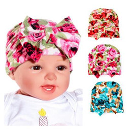 babies months 2019 - Cotton Hats Infant Baby Girls Floral Nursery Newborn Hospital Hats 0-3 Months Cap with Big Bow Soft Cute Knot Nursery Be