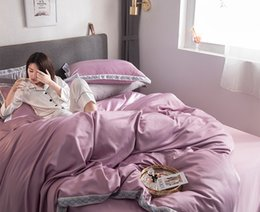 $enCountryForm.capitalKeyWord Australia - bed linings bedding set bedclothes flat bed sheet quilt cover pillowcase Full Queen King size bedroom home textiles Silk Purple