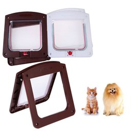 Discount wholesale house products - Pet Cat Puppy Dog Gates Door Lockable Safe Flap Door Pet safety products Lock Suitable for Any Wall or White Brown Color