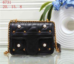 Metallic evening purse online shopping - Women designer handbags Famous Brands Chains Rivet Beads Shoulder bag Lady Evening party Crossbody bags G6731 designer luxury handbags purse