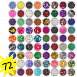 glitter spangles NZ - 72 Colors Spangle color acrylic powder Glitter Nail Art Paillette Acrylic UV Powder pigmento Tips Set tipsy na paznokcie #68