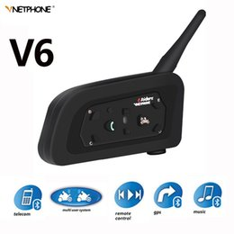 bluetooth headset motorcycle gps Australia - V6 Intercom 850mAh Helmet Bluetooth Headset Motorcycle Comunicador Headphone Speaker for 6 Riders IP65 MP3 GPS Walkie Talkie
